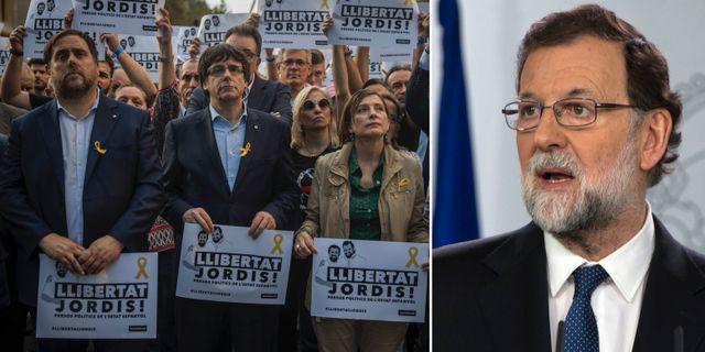Katalanska ledare vid en protest i Barcelona igår/Mariano Rajoy. TT