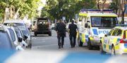 Bild från skottlossningen i Sollentuna i går.  Christine Olsson/TT / TT NYHETSBYRÅN