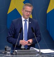 Mikael Damberg (S) under dagens pressträff.