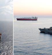 Rigg i Mexikanska golfen och HMS Montrose i persiska viken.  TT.