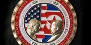 Ett mynt som gjordes för det nu inställda mötet mellan Trump och Kim STR / AFP