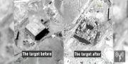 Israeliska bilder på målet för flygangreppet före och efter attacken.  HANDOUT / TT NYHETSBYRÅN