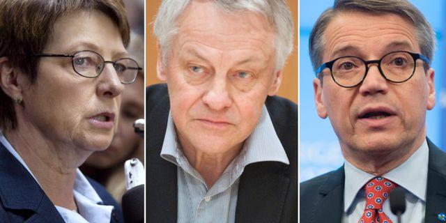 Ulla Hoffman (V), Bengt Westerberg (L) och Göran Hägglund (KD). TT