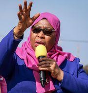 Tanzanias president Samia Suluhu Hassan, som tillträdde efter John Magufulis död i mars i år. TT NYHETSBYRÅN