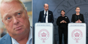 Mikael Odenberg/Danmarks äldreminister Magnus Heunicke och landets statsminister Mette Frederiksen under en pressträff. TT