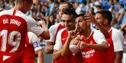 Sevillas fotbollslag spelar i La Liga.  Joan Monfort / TT NYHETSBYRÅN