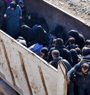 Invånare i Aleppo flyr staden. GEORGE OURFALIAN / AFP