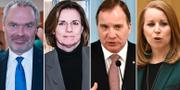 Jan Björklund (L), Isabella Lövin (MP), Stefan Löfven (S) och Annie Lööf (C). TT