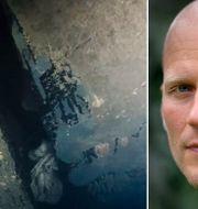 Bild ur dokumentärserien på ett hål i skrovet på Estonia. Filters chefredaktör Mattias Göransson.