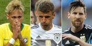 Brasiliens Neymar, Tysklands Thomas Müller och Argentinas Lionel Messi. TT