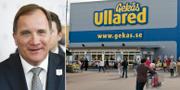 Stefan Löfven (S) och Gekås i Ullared. TT