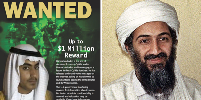 Hamza bin Ladin och Usama bin Ladin. REWARDS FOR JUSTICE, Wikipedia.
