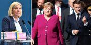 Magdalena Andersson/Angela Merkel och Emmanuel Macron. TT