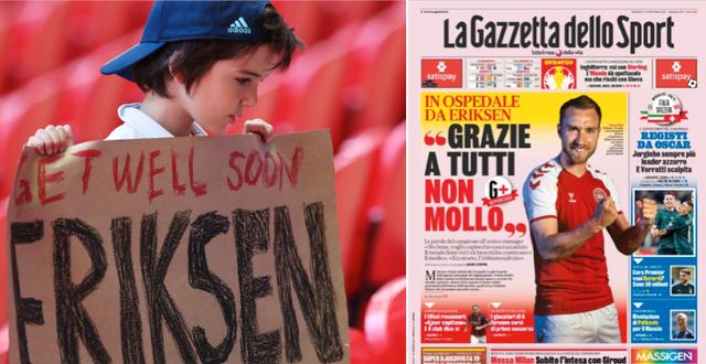 Ett ungt fan på Wembley Stadium i London håller upp en skylt till stöd för Eriksen/måndagens förstasida på Gazzetta dello Sport. Bildbyrån/Gazzetta dello Sport