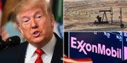 Trump, syriskt oljefält, Exxon Mobils logga på en börsskärm på Wall Street. TT