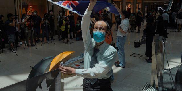 Protester i Hongkong mot nya säkerhetslagen. Vincent Yu / TT NYHETSBYRÅN