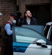Pablo Hasél förs in i en polisbil efter gripandet Joan Mateu / TT NYHETSBYRÅN