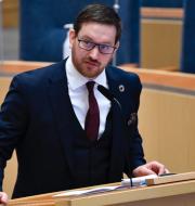 Utrikeshandelminister Anna Hallberg och V:s Håkan Svenneling.  TT.