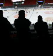Amanda Lind och poliser som tittar på en ishockeymatch utan publik.  TT
