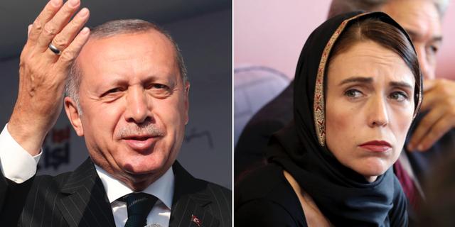 Erdogan och Ardern. TT
