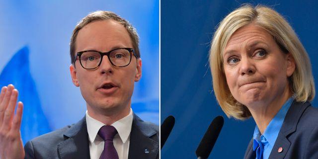 Mats Persson (L), Magdalena Andersson (S). Arkivbilder. TT