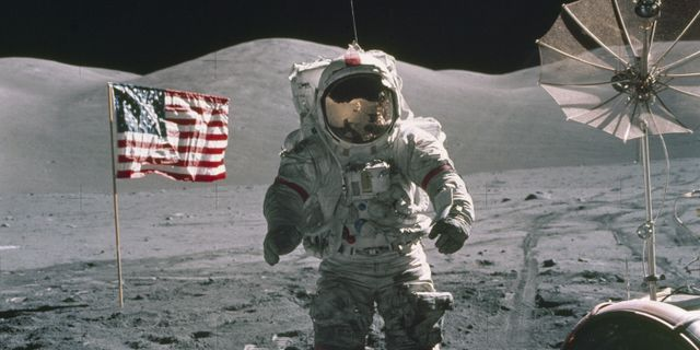 Eugene Cernan, som är den man som senast var på månen år 1972. TT NYHETSBYRÅN
