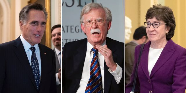 Mitt Romney, John Bolton och Susan Collins. TT