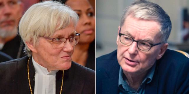 Ärkebiskop Antje Jackelén och Svenska Akademinens ständige sekreterare Anders Olsson. TT.