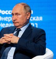 Putin vid ett klimat- och energiforum i Moskva. Sergei Ilnitsky / TT NYHETSBYRÅN