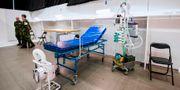 Temporär intensivvårdplats på fältsjukhust i Älvsjö. JONATHAN NACKSTRAND / TT NYHETSBYRÅN