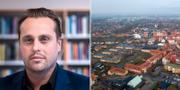 Christian Sonesson (M) / flygbild över centrala Staffanstorp. Johan Nilsson/TT / TT NYHETSBYRÅN