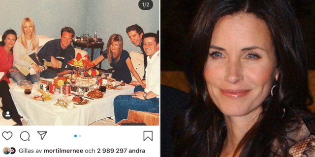 """Courteney Cox  la ut bilden på """"Vänner""""-stjärnornas sista måltid.  TT / Instagram"""