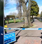 Donald Trump/förra brittiska premiärministern Theresa May besöker platsen där Sergrej och Julia Skripal förgiftades. TT