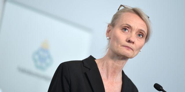 Karin Tegmark Wisell på en pressträff. Pontus Lundahl/TT / TT NYHETSBYRÅN