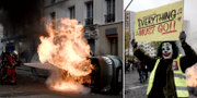 Brinnande bil och demonstrant i Paris. TT
