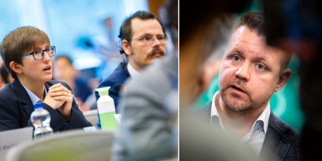 Julia Reda och Max Andersson/Fredrick Federley  Europaparlamentet/TT