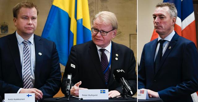 Antti Kaikkonen, Finlands försvarsminister, Peter Hultqvist, Sveriges försvarsminister och Frank Bakke-Jensen, Norges försvarsminister. TT