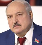 Utrikesminister Ann Linde (S) och Belarus president Aleksandr Lukasjenko.  TT.