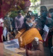 En kvinna i New Delhi blir testad för covid-19 Altaf Qadri / TT NYHETSBYRÅN