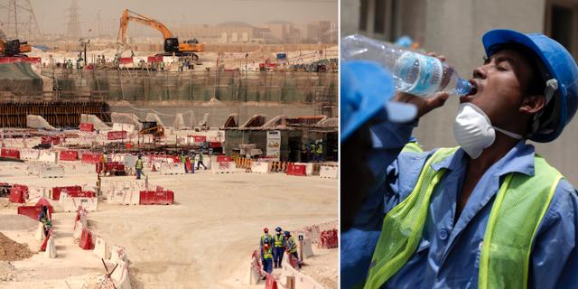 Bygge i Qatar inför fotbolls-VM/arkivbild. TT/AP