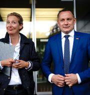 Tino Chrupalla (höger). Kay Nietfeld / TT NYHETSBYRÅN