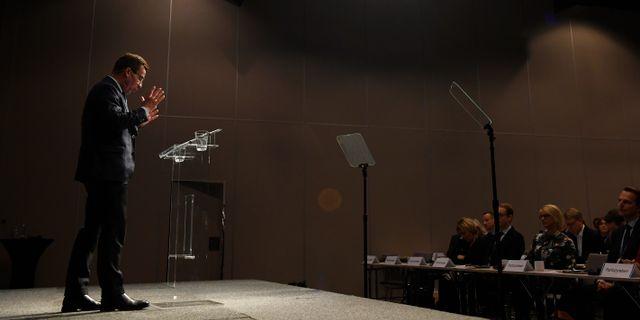Moderaternas partiledare Ulf Kristersson (M) talar under partirådet i slutet av november 2018. Pontus Lundahl/TT / TT NYHETSBYRÅN