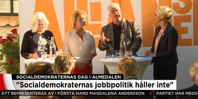 Alliansens partisekreterare håller presskonferens under Socialdemokraternas dag i Almedalen. TV4