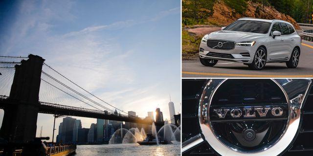Arkivbilder: Brooklyn Bridge, XC60, Volvos logga. TT