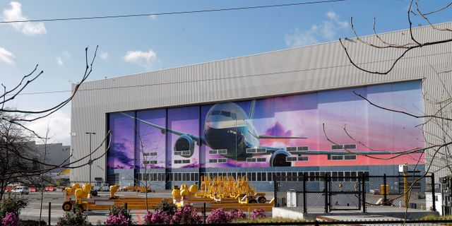 Tom Boeingfabrik i Renton, Washington i slutet av mars. Ted S. Warren / TT NYHETSBYRÅN