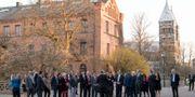 FN-ambassadörerna besökte bland annat Lunds domkyrka. Johan Nilsson/TT / TT NYHETSBYRÅN
