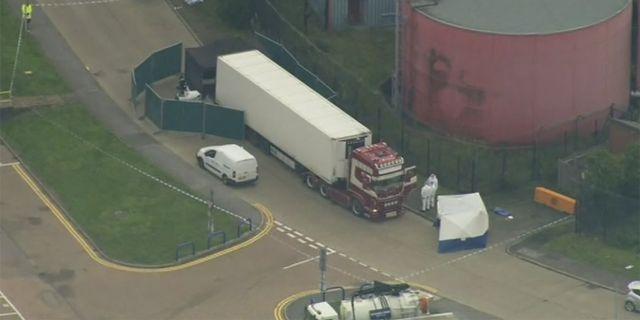 Lastbilen som migranterna hittades döda i. UK Pool / TT NYHETSBYRÅN