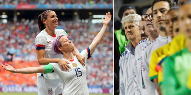 Amerikanska fotbollsstjärnan Megan Rapinoe målfirar under VM/Pia Sundhage och det brasilianska landslaget. TT