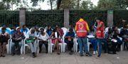 Människor köar för att få donera blod efter attentatet. YASUYOSHI CHIBA / AFP