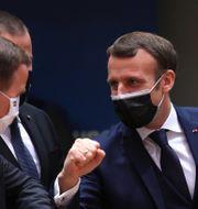 Löfven och Macron hälsar på varandra.  Olivier Matthys / TT NYHETSBYRÅN